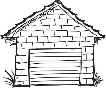 hand drawn, sketch, cartoon illustration of garage