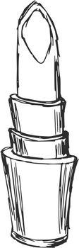 hand drawn, sketch, cartoon illustration of lipstick