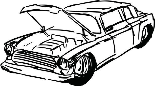 hand drawn, sketch, cartoon illustration of car hood