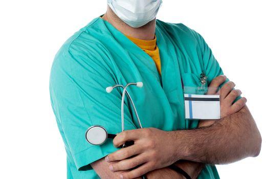 Confident doctor holding stethoscope