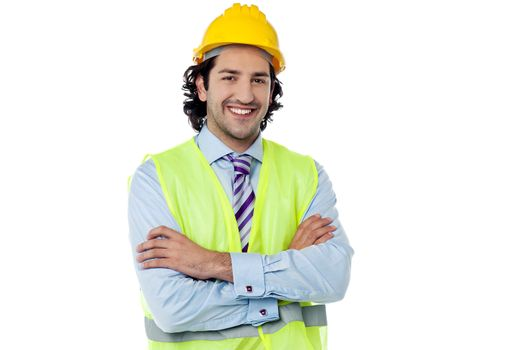 Confident engineer with hard hat