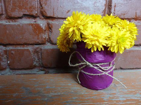 Yellow flower in a pot
