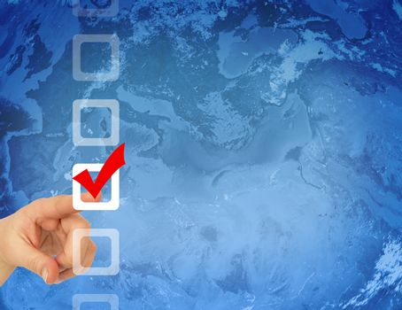 Hand pointing to the checkbox