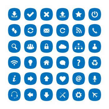 Blue flat rounded square icons
