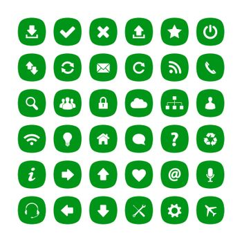 Green flat rounded square icons