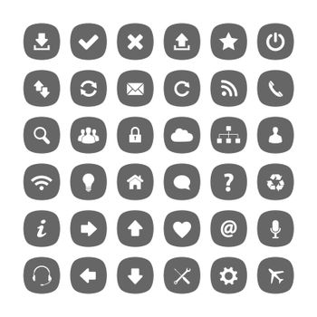 Grey flat rounded square icons