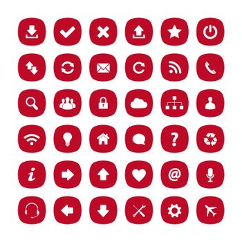 Red flat rounded square icons