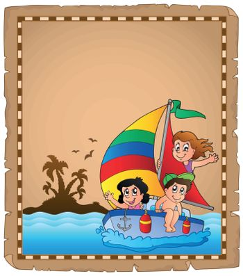 Parchment with travel theme 2 - eps10 vector illustration.