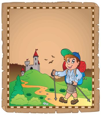 Parchment with travel theme 3 - eps10 vector illustration.