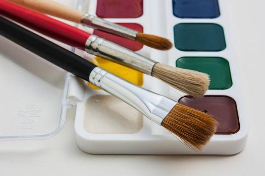 brushes and paints for drawing
