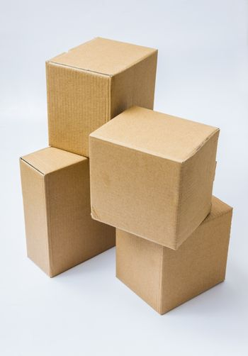 Cardboard boxes for goods and products on white background