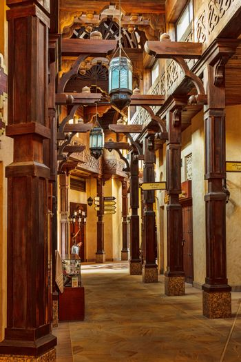 street with a lantern on the market in Jumeirah in Dubai