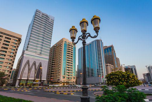 Skyscrapers in Sharjah city. Khalid Lagoon.UAE.