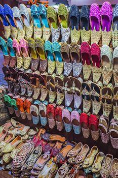 colorful shoes in souk Dubai,United Arab Emirates