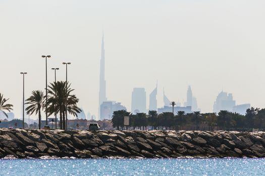 Water landscape with a views of Dubai cityline