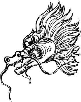 hand drawn, sketch, cartoon illustration of Chinese dragon
