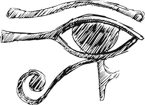 hand drawn, cartoon, sketch illustration of Eye of Ra