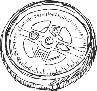 hand drawn, sketch, cartoon illustration of compass