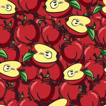 Apples fruits sketch drawing seamless background