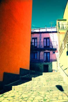 Multi-colored street in Europe