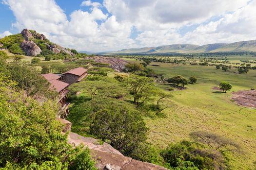 Tourist lodgy on savanna in Tanzania, Africa