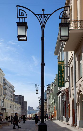 Moscow, Kamergersky lane at spring morning, 2014, april,  editorial use only