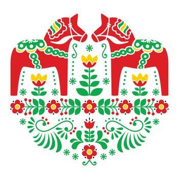 Swedish Dala or Daleclarian horse floral folk pattern