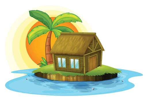 Illustration of an island with a bamboo house on a white background