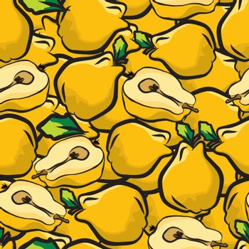 Quince fruits sketch drawing seamless background