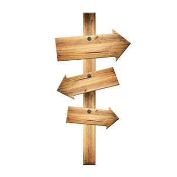 Wooden signpost of dark planks isolated on white background.