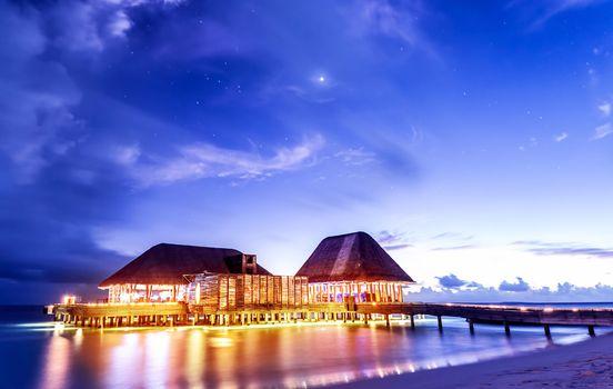 Beach restaurant in the night