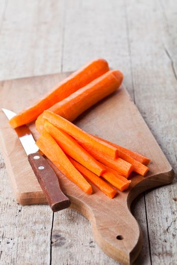 fresh carrot and knife