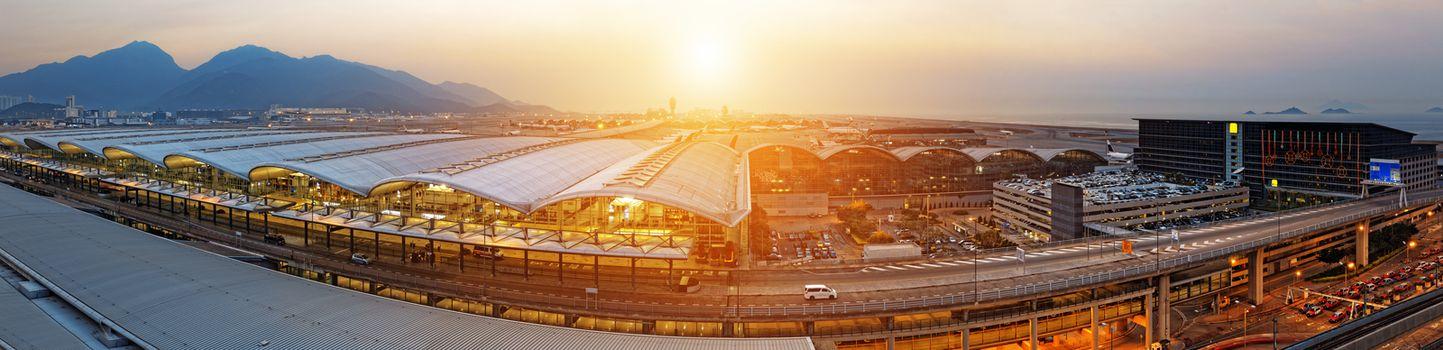 hong kong international airport wide angle at sunset