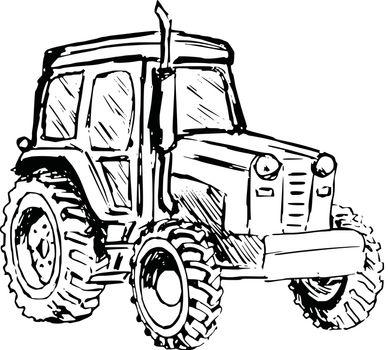 hand drawn, cartoon, sketch illustration of tractor