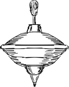 hand drawn, sketch, cartoon illustration of whirligig