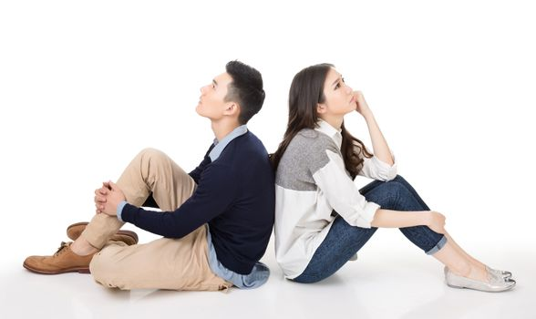 young couple thinking