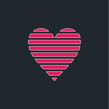 Pink heart on a grey background