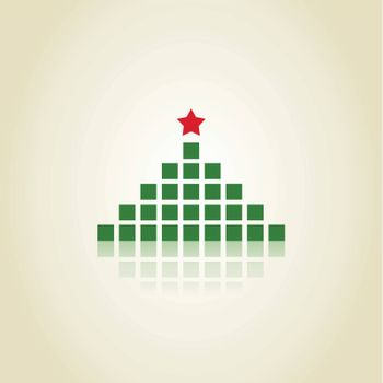 Christmas tree made of green squares