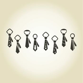 Set of icons on a theme clothes tie, a vector illustration