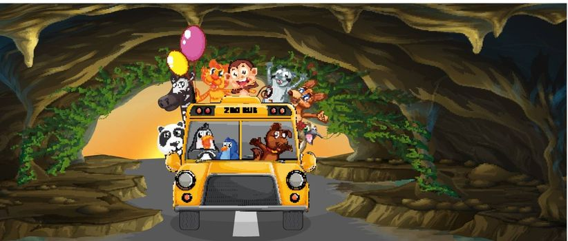 Illustration of a bus full of animals inside the cave