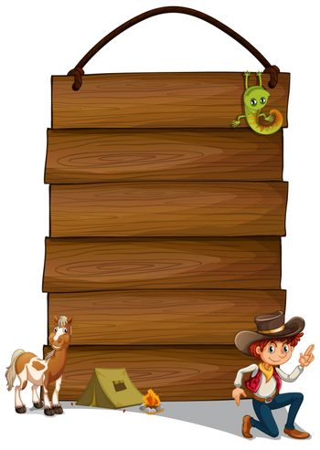 Illustration of a hanging empty signage with a cowboy and animals on a white background