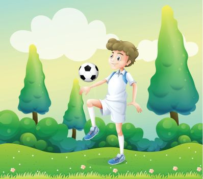 Illustration of a hill with a young football player playing