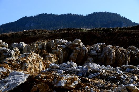 large rocks at a quarry in the mountains