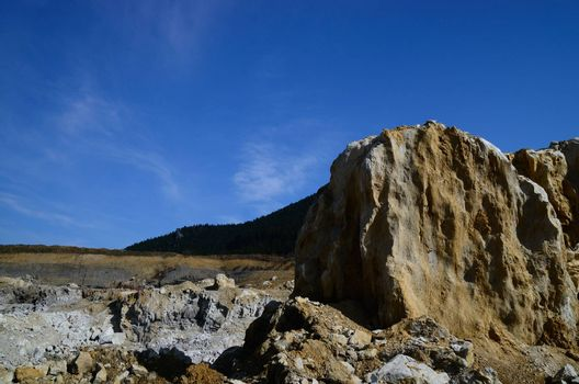 large quarry mining with blue sky