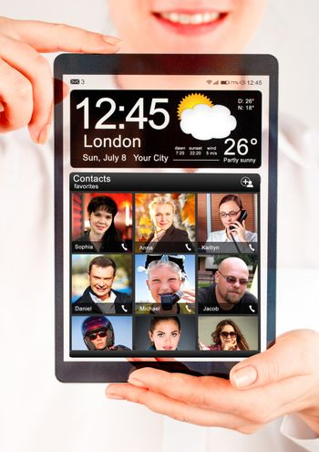 Tablet with a transparent display in human hands. Concept actual future innovative ideas and best technologies humanity.
