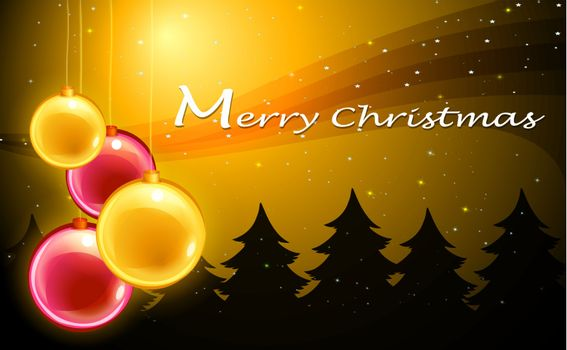 Illustration of a christmas card template with christmas balls