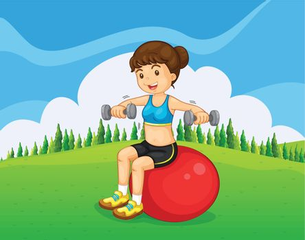 A girl exercising with a barbell and a bouncing ball