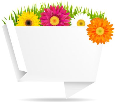 Grass Border With Frower And Origami Banner, With Gradient Mesh, Vector