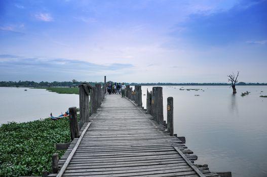 U Bein Bridge, The longest teakwood bridge in the world, Amarapura, Myanmar