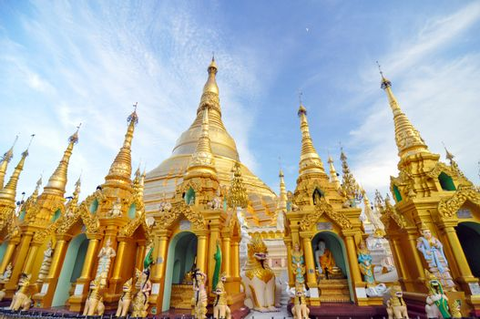 Shwedagon Pagoda Temple in Yangon, Myanmar.